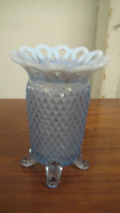 Imperial Glass Blue Opalescent Katy Footed Vase Laced Top