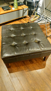 Dark Brown Ottoman / Bench good condition faux leather