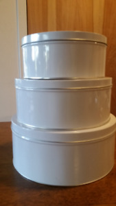 Keith Brymer Jones'  White Tin Canister Set (3 pcs) Never Used