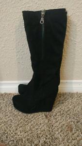 Suede black high heel boots