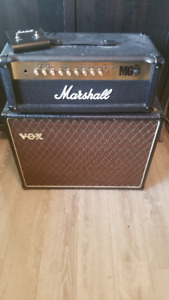 Marshall head and Vox speaker cabinet