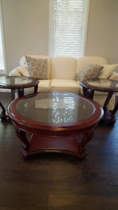 Glass & wood coffee table set