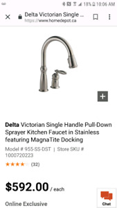 New  Delta single lever faucet  with pull down sprayer