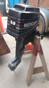 9.9 mercury 2 stroke short shaft comes with tank and hose
