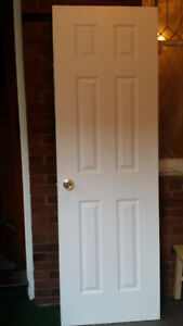 """""""Like New"""" Interior White Door with Brass Knobs and Brass Hinges"""