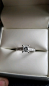 18k Engagement Ring - .79k Princess Cut Stone