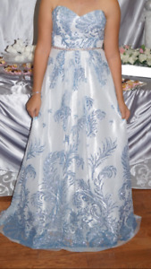 Long blue and white dress