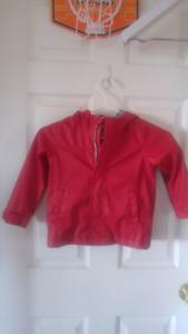 Red rubber rain coat 3T