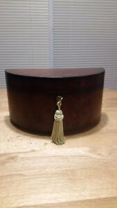 Bombay Wooden Semi Circular Jewelry Box with Key