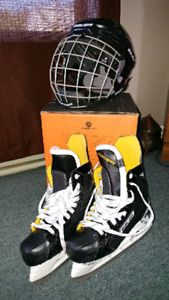 Boy's Bauer Skates and Helmet Like New