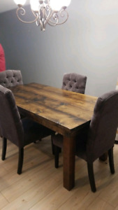 6 person  Wooden harvest table and chairs