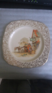 Vintage antique England made plate with gold trim