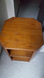 VINTAGE Original 70s Solid Wood Multi Purpose Table Storage Shelves
