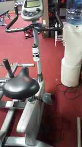 Electronic exercise bike with heart rate monitor.