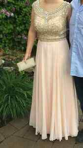Stunning Blush/Bejewelled Prom Dress, size 8, Nina Couture