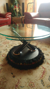 Movable Metal and glass Round table $ 39