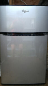 . WHIRLPOOL, Stainless Steel Look, Dual Door Compact Fridge