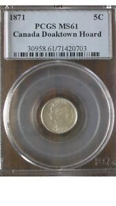 1871 Canada Silver 5 Cent Coin- PCGS MS61 Key Date