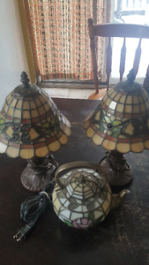 Antique Tiffany type lamp and Tea Pot glass lamp.