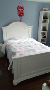 solid wood white bed.