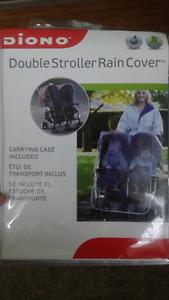 Double stroller rain cover, brand new