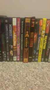 Tons of DVDs, box sets, and some blue rays