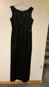 Size 6or7 Black Satin Dress 'homemade'