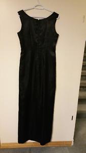 Size 6or7 Black Satin Dress 'homemade'
