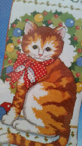 Christmas Vintage Cross Stitch Cat Stocking