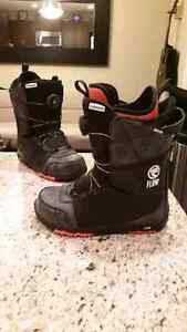Youth snow board boots and helmet