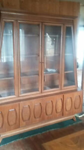 Solid wood Walnut Buffet & Hutch with 6 dining chairs