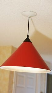 Bright red ceiling light fixture