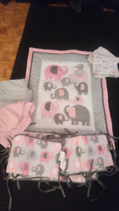 Pink and Grey Elephant Nursery Set