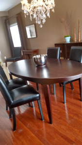 Scandanavian style wood dining room table 4 chairs