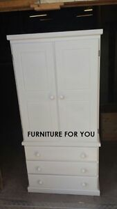 HAND MADE COPENHAGEN 2 DOOR WARDROBE WITH 3 DRAWERS IN WHITE READY ASSEMBLED