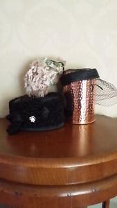 3 vintage head piece hats