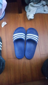 Blue Adidas slippers size 9 and half
