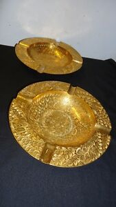 antique indian brass a pair of ashtray