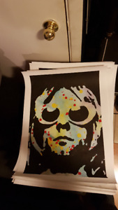 Kurt Cobain Nirvana Glasses Original Art on18x24 Paper by LeBach