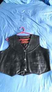 Size XL Ladies Black leather Vest Biker Vest