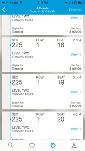 4 Usher Tickets - Row 1, Section 225 - July 15th