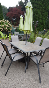 Outdoor 6 seat dining set with umbrella/stand