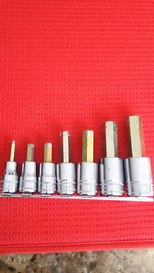 """Snap on 7 pc 1/2"""" Drive Metric Hex Socket Set snapon"""