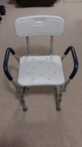 White Bath Seat c/w Back Support & Arm Rests. Like New.