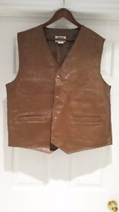 Brand new brown colour leather vest. Size XL
