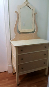Antique Refinished Dresser with Mirror