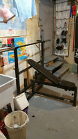 BENCH PRESS  SQUATS STANDS  AND FLEXING MACHINE