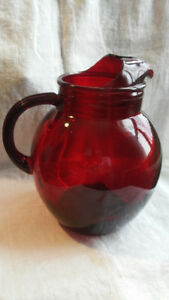 Ruby Red Glass Large Pitcher Anchor Hocking