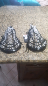 2 lacrosse heads for sale new heads freshly strung.