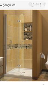 """Shower Door Frameless Bifold 29 1/2"""" w x 72"""" H"""